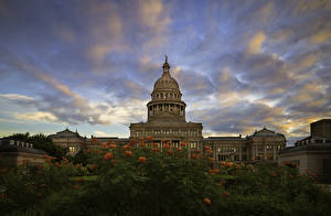 Фотографии Штаты Здания Небо Вечер Техас State Capitol Города