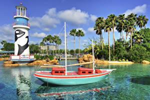 Картинка США Парки Парусные Маяки Лодки Дизайн Пальмы SeaWorld Orlando