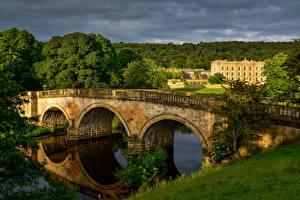 Фото Великобритания Дома Реки Мост Chatsworth House Природа