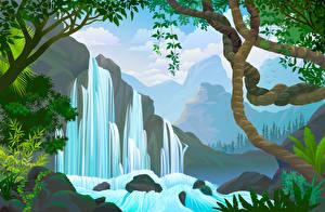 Картинки Векторная графика Водопады Ветки Природа