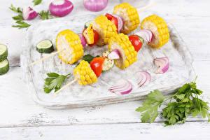 Фотографии Овощи Кукуруза Лук репчатый Разделочная доска Дизайн