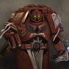 Обои Warhammer 40000 Шлем Доспехи Space Marine Фэнтези