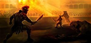 Фотография Воины Львы Битвы Мечи Шлем Арена Gladiator