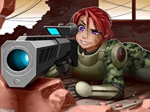 Фото Воины Снайперская винтовка Рыжая Снайперы Девушки