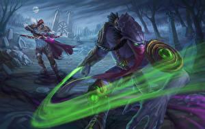 Картинки Воители Сверхъестественные существа Heroes of the Storm Ночь Сильвана Ветрокрылая zeratul Игры Фэнтези