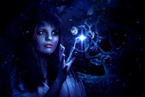 Фотография Ведьма Магия Олени Ночные Фантастика Девушки