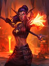 Фото World of WarCraft Эльфы Волшебство Druid of the Flame, Blackrock Mountain Игры Девушки Фэнтези