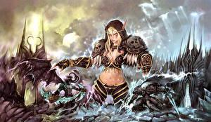 Картинки WoW Эльфы Terrorblade Демоны Игры Девушки Фэнтези