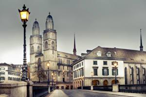 Фотографии Цюрих Швейцария Здания Мосты Ограда Уличные фонари
