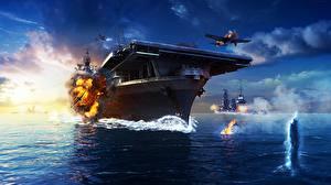 Картинка Авианосец Самолеты Взрывы World Of Warship Американские Yorktown, U.S.S CV-10 Игры