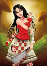 Картинки Алиса Нож Брюнетка Madness Игры Девушки Фэнтези