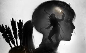 Фотографии Лучники Rise of the Tomb Raider Лара Крофт Черно белые Стрела Девушки