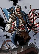 Фотографии Assassin's Creed 3 Воины Лучники Боевые топоры / Секиры Флаг Fan ART Connor Игры