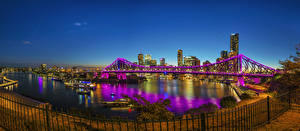 Картинки Австралия Брисбен Вечер Здания Реки Мосты Забор Chinatown
