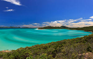 Фото Австралия Побережье Леса Холмы Залив Whitehaven Beach Природа