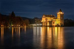 Фотографии Австрия Реки Замки Берег Ночные Anif Castle Города