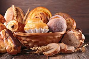Фотографии Выпечка Хлеб Булочки Корзина Колоски Еда