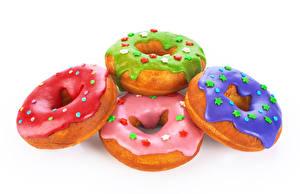 Картинки Выпечка Пончики Белый фон Пища