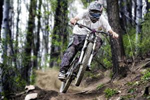 Картинки Велосипед Шлем Едущий Очки Спорт