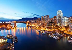 Фотографии Канада Здания Пирсы Вечер Мосты Ванкувер Залив Города
