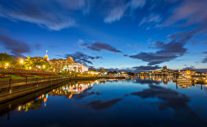 Фотографии Канада Дома Реки Вечер Небо Пристань Ванкувер город