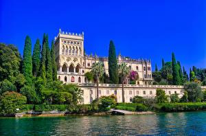 Фотографии Берег Италия Вилла Lombardy, Lake Garda, Villa Borghese Cavazza Города