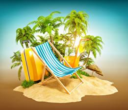 Обои Креативные Остров Пальмы Чемодан Лежаки Туризм 3D Графика
