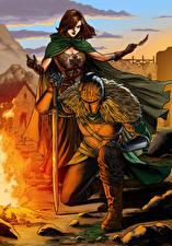 Фото Dark Souls Рыцарь Доспехи Двое С мечом Костер Fan ART 2, Emerald Herald Игры Девушки Фэнтези