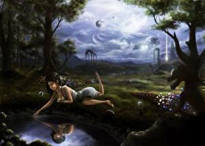Фотография Фантастический мир Монстры Пруд Отражение Деревья Фэнтези