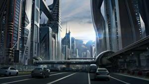 Фото Фантастический мир Небоскребы Дороги Улица Фантастика