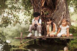 Фотография Ловля рыбы Удочка Мальчишки Девочки Трое 3 Ствол дерева ребёнок