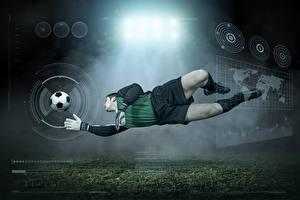 Фотография Футбол Мужчины Вратарь в футболе Мяч Униформа Прыжок Спорт