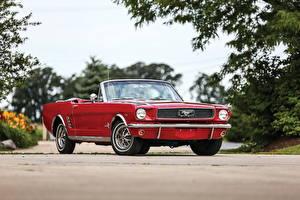 Картинки Ford Старинные Красный Кабриолет Mustang 1966 Автомобили