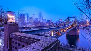 Фотографии Франкфурт-на-Майне Германия Реки Мосты Дома Уличные фонари город