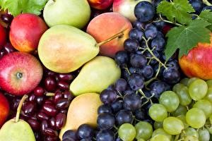 Картинки Фрукты Виноград Яблоки Груши Продукты питания