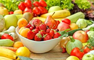 Фото Фрукты Овощи Клубника Персики Яблоки Продукты питания