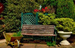 Картинки Сады HDRI Скамейка Кусты Природа