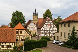 Фотография Германия Здания Улица Кусты Bad Wimpfen