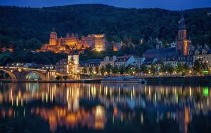 Фотографии Германия Здания Речка Пирсы Мосты Ночные Heidelberg