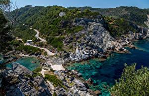 Фото Греция Берег Камень Agios Ioannis Beach Природа