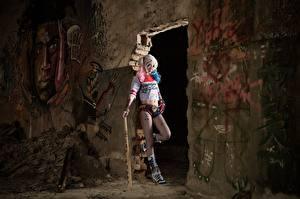 Фото Харли Квинн герой Азиаты Бейсбольная бита Стенка Косплей Девушки