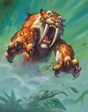 Фотография Hearthstone: Heroes of Warcraft Древние животные Клыки Когти Злость Прыжок Sabretooth Stalker Игры