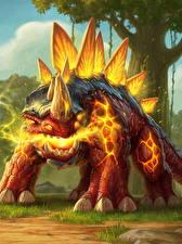 Картинки Hearthstone: Heroes of Warcraft Динозавры Lightfused Stegodon Игры