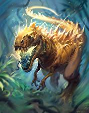 Картинки Hearthstone: Heroes of Warcraft Динозавры Charged Devilsaur Игры