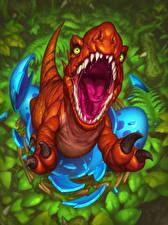 Фотография Hearthstone: Heroes of Warcraft Динозавры Оскал Зубы Devilsaur Игры
