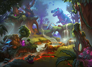 Обои Hearthstone: Heroes of Warcraft Динозавры Фантастический мир Explore Un'Goro Игры