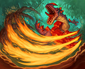 Картинки Hearthstone: Heroes of Warcraft Динозавры Оскал Flaming Claws Игры