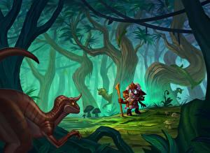 Обои Hearthstone: Heroes of Warcraft Динозавры Леса Деревья The Marsh Queen Игры