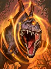 Обои Hearthstone: Heroes of Warcraft Динозавры Злость Зубы Grievous Bite Игры