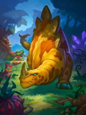 Фотографии Hearthstone: Heroes of Warcraft Динозавры Stegodon Игры